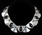 DECO MEXICAN SILVER and BLACK ONYX SHIELDS NECKLACE