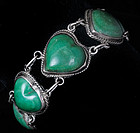 DECO MEXICAN SILVER CARVED JADE HEARTS BRACELET