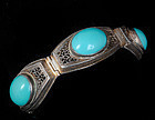 DECO CHINESE SILVER and TURQUOISE FILIGREE BRACELET