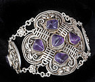 DECO CHINESE SILVER and AMETHYST BRACELET Bats SHU