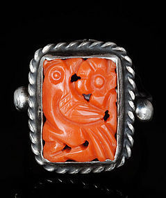 DECO CHINESE SILVER and Carved CORAL FIGURAL RING