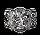 EARLY MACIEL st MEXICAN SILVER REPOUSSE CUFF BRACELET