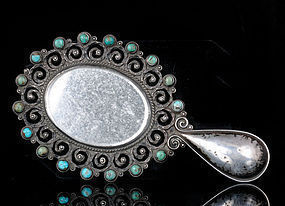 OLD MATL MEXICAN SILVER and TURQUOISE HAND MIRROR