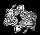 A. REINA MEXICAN SILVER HEARTS ROSES CLAMPER BRACELET
