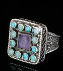 DECO MEXICAN SILVER Jeweled RING Amethyst Turquoise