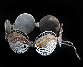 MARGOT de TAXCO MEXICAN SILVER and ENAMEL BRACELET