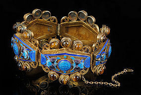 OLD CHINESE SILVER ENAMEL and TIGERS EYE BRACELET