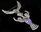 DECO MEXICAN SILVER CARVED AMETHYST Masquette BROOCH