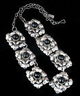 EARLY DECO MEXICAN SILVER GEM FLORAL NECKLACE