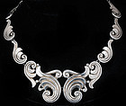 STUNNING LOPEZ MEXICAN 980 SILVER PECTORAL NECKLACE