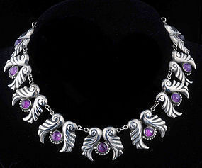 GORGEOUS AEM MEXICAN SILVER AMETHYST NECKLACE