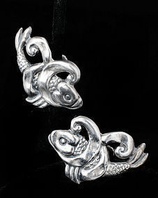 ANTONIO REINA MEXICAN SILVER REPOUSSE KOI FISH EARRINGS