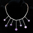MARICELA MEXICAN SILVER and AMETHYST MOD NECKLACE
