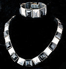 Fred DAVIS MEXICAN SILVER ONYX NECKLACE BRACELET Set