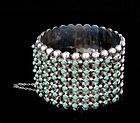 STUPENDOUS MEXICAN SILVER TURQUOISE MULTI-ROW BRACELET