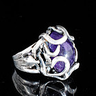 STUNNING MOD SILVER AMETHYST Hand wrought STUDIO RING