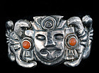 EARLY MEXICAN SILVER CORAL Matl style REPOUSSE BRACELET
