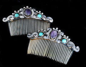 MEXICAN SILVER Jeweled MATL style Hair COMBS set of 2