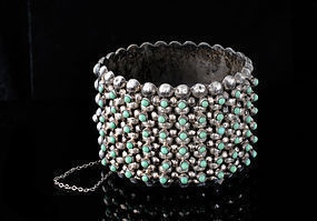 old MEXICAN SILVER TURQUOISE multi-row beaded BRACELET