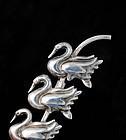 rare JOHANNA van RYN MEXICAN Silver Swans PIN BROOCH