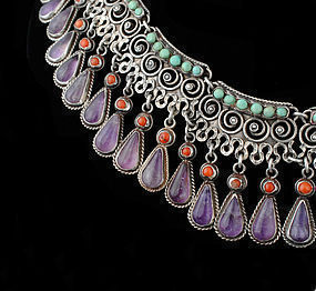 RIVERA Deco Matl-esque MEXICAN SILVER Jeweled NECKLACE