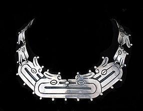 DECO MEXICAN Silver Carved Quetzalcoatl NECKLACE
