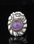 early Matl Mexican silver amethyst repousse Ring Poulat