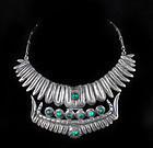 early Taxco fine 980 silver repousse pectoral Necklace