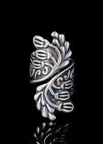 Deco Pedro Castillo Mexican silver Acorn by pass Ring