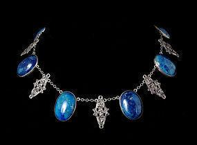 Deco Italian silver and sodalite Necklace Peruzzi style