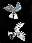 FarFan Mexican silver Christmas Earrings holly bells