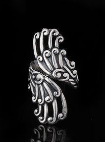 early Mexican 980 silver by pass Ring - monumental