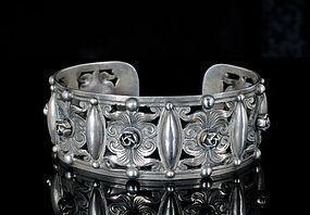 Deco Flli Peruzzi Italian 800 silver Cuff Bracelet