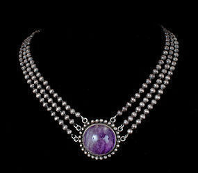 rare Los Castillo Mexican 980 silver amethyst Necklace