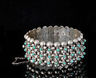 Deco Mexican silver turquoise multi-row beaded Bracelet