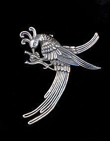 huge Gerardo Lopez Mexican silver Pin Brooch bird paradise
