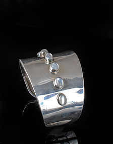 Mexican modernist silver moonstone Cuff Bracelet ~ Pineda style