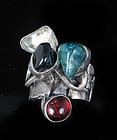 Rachel Gera brutalist silver gems Ring ~Israel modernism