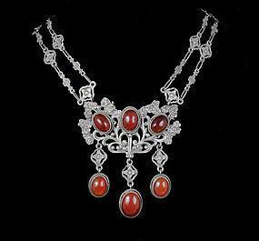 Peruzzi Deco Italian 800 silver and carnelian Necklace