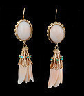 antique 14k gold carved angel skin coral dangle Earrings