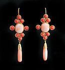 vintage 14k gold red and angel skin coral dangle Earrings
