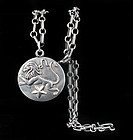 Margot de Taxco Mexican silver Leo pendant Necklace 5227