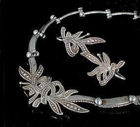 Margot de Taxco Mexican silver Necklace Earrings set ~ 5346