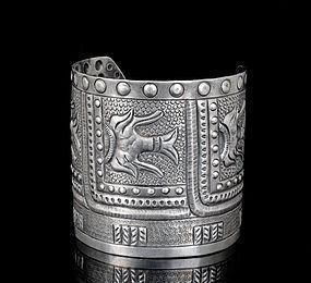 massive Maciel Mexican Deco silver repousse Cuff Bracelet
