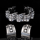 Margot de Taxco Mexican silver Bracelet Earrings set ~ 5247
