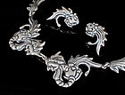 Deco Mexican silver Necklace Earrings ~ Los Castillo dragons