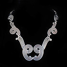 Los Castillo Mexican silver oxidized swirls Necklace