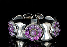 Deco Fred Davis Mexican silver and amethyst Bracelet