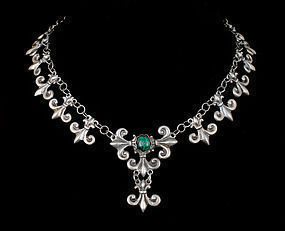 Mexican Deco silver and malachite Necklace fleur-de-lis