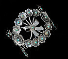 Deco Mexican silver turquoise Bracelet wreath and bow